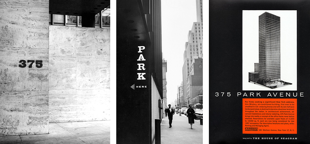 Seagram Building signage, 1957 and advertisement, 1959.