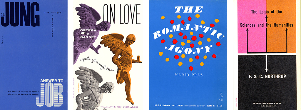 Bookjackets for Meridian Books, 1956–59.