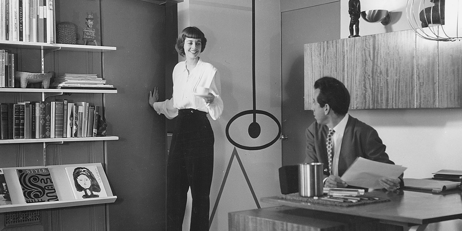 Elaine and Alvin Lustig, Lustig Office, Los Angeles, 1949.